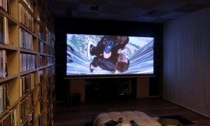 Home cinema room in Rome. Epson LS10000 top level projector Bensotech