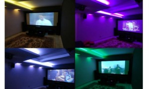 Home cinema in basement room at Asti